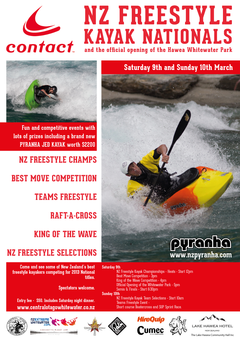 Contact Energy NZ Freestyle Kayak Championship 2013 Event Poster